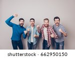 champions  four amazed young... | Shutterstock . vector #662950150