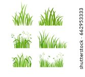grass icon set. silhouette of... | Shutterstock .eps vector #662953333