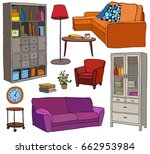 vector set of modern furniture... | Shutterstock .eps vector #662953984