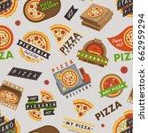 delivery pizza logo badge... | Shutterstock .eps vector #662959294