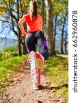 beautiful woman running over... | Shutterstock . vector #662960878