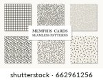collection of seamless memphis... | Shutterstock .eps vector #662961256