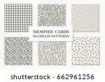 collection of seamless memphis... | Shutterstock .eps vector #662961256