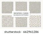 collection of seamless memphis... | Shutterstock .eps vector #662961286