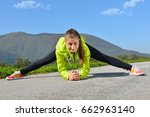 beautiful woman running over... | Shutterstock . vector #662963140