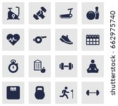 set of 16 bodybuilding icons... | Shutterstock .eps vector #662975740