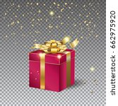 gift box with gold bow ribbon... | Shutterstock .eps vector #662975920