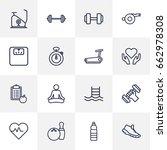 set of 16 fitness outline icons ... | Shutterstock .eps vector #662978308