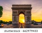 paris arc de triomphe ... | Shutterstock . vector #662979433