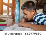 asian student man write... | Shutterstock . vector #662979850