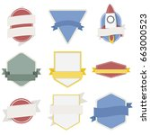 mixed set of spaceship badges... | Shutterstock .eps vector #663000523