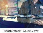 double exposure of  engineer or ... | Shutterstock . vector #663017599