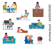 vector set of cartoon people... | Shutterstock .eps vector #663024040