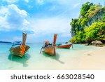 longtale boat on the white... | Shutterstock . vector #663028540