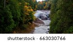 Autumn Michigan Waterfall Landscape. Panoramic landscape of Potawatomi Falls along the Black River Scenic Byway in the Ottawa National Forest. The National Forest is one of two in the Upper Peninsula