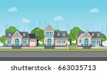 modern family house with car ... | Shutterstock .eps vector #663035713