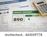 credit report and debt payment...   Shutterstock . vector #663039778