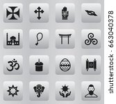 set of 16 editable religion... | Shutterstock .eps vector #663040378