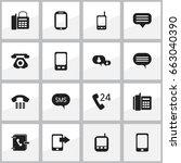 set of 16 editable phone icons. ...