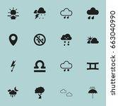 set of 16 editable weather... | Shutterstock .eps vector #663040990