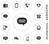 set of 12 editable gadget icons.... | Shutterstock .eps vector #663041950