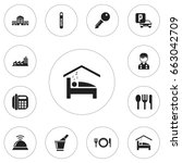 set of 12 editable hotel icons. ... | Shutterstock .eps vector #663042709
