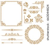 vintage set. floral elements... | Shutterstock . vector #663044824
