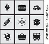 set of 9 editable school icons. ... | Shutterstock .eps vector #663045613
