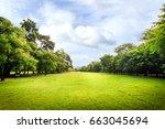 beautiful park scene in park...   Shutterstock . vector #663045694