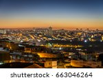 sunset in sao paulo city ... | Shutterstock . vector #663046264