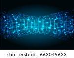 future technology  blue cyber... | Shutterstock .eps vector #663049633