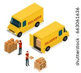 delivery car logistic service... | Shutterstock .eps vector #663061636