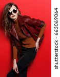 fashion model in sunglasses ... | Shutterstock . vector #663069064