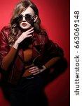 fashion model in sunglasses ... | Shutterstock . vector #663069148