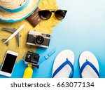 summer beach vacation travel... | Shutterstock . vector #663077134