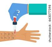 allergy test. doctor holds... | Shutterstock .eps vector #663077398