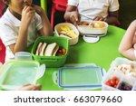 group of kindergarten students...   Shutterstock . vector #663079660