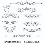 vector set of swirling... | Shutterstock .eps vector #663080566