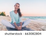 yoga fitness beach woman... | Shutterstock . vector #663082804