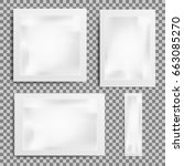 set of realistic white blank... | Shutterstock .eps vector #663085270