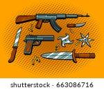 weapon pop art retro vector...   Shutterstock .eps vector #663086716