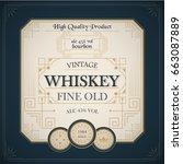 western whiskey label vintage...   Shutterstock .eps vector #663087889