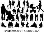 silhouette family  people with... | Shutterstock .eps vector #663092464
