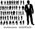 silhouette of man set | Shutterstock .eps vector #663092626