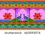 vector design of floral kitsch... | Shutterstock .eps vector #663093076