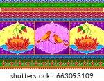 vector design of floral kitsch... | Shutterstock .eps vector #663093109