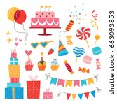 birthday elements collection.... | Shutterstock .eps vector #663093853