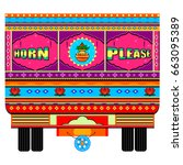 vector design of truck of india ... | Shutterstock .eps vector #663095389