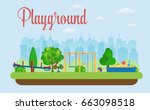 kids playground. buildings for... | Shutterstock . vector #663098518