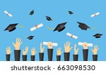 graduating students of pupil... | Shutterstock . vector #663098530